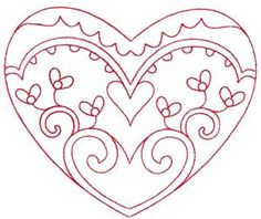 Redwork Valentine's Heart 1 Embroidery Design by Kinship Kreations Embroidery Hearts, Embroidery Monogram, Hand Embroidery Patterns, Embroidery Applique, Cross Stitch Embroidery, Machine Embroidery, Easy Flower Drawings, Happy Birthday Flower, Wedding Embroidery