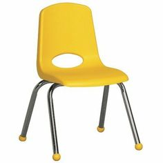 """14"""" Plastic Classroom Stackable Chair Seat Color: Yellow, Foot Type: Ball Glide, Leg Color: Black by ECR4Kids. $32.83. ELR-1194-YE Seat Color: Yellow, Foot Type: Ball Glide, Leg Color: Black Features: -Chair.-Non-Toxic, Safety Tested - CPSIA compliant.-Quality Satisfaction Guaranteed.-*Standard Glides available upon request. Dimensions: -Seat height: 14''.-Product dimensions: 13.1''W x 13.1''D x 12.4''H."""