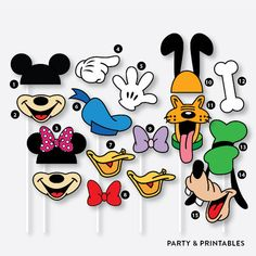 39 Pieces Disney Inspired Photo Booth Props + 1 Photo Booth Sign / Instant Download (PBP.01A)
