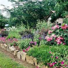 Play with Color:  I like the colors of pink, dark blue and a touch of white in this country garden.