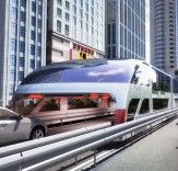 China elevated bus – the concept of a bus running above traffic. – This concept could actually hit the streets of China as Land Airbus presents a new generation of high-level rail transport. China, Trains, Traffic Congestion, Gadget World, Future Transportation, Parking, Train Travel, Public Transport, Rail Transport