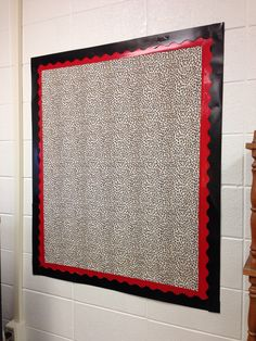 Created a brand new bulletin board on a bare wall with cheetah print fabric, taped to the wall with red duct tape border then layered with black paper border stuck to the duct tape with two sided permanent foam tape.  Super excited that I can put bulletin boards anywhere I want now!!!
