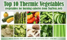"Top 10 Thermic Vegetables - Thermic vegetables, also known as free or negative calorie vegetables, burn more calories than they contain:  ""Your body requires on average 150-250 calories to digest your food, depending on your weight, gender and activity level. If you eat something that has a caloric content of 100 calories, you will actually burn more calories than you ingest"" (wisegeek.com).  Read more: http://www.toptenz.net/top-10-thermic-vegetables.php#ixzz2Rlv5WLkU"