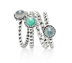 A splash of green for your summer look #PANDORAring stack them up for a fresh and colorful look