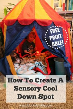 A sensory cool down spot is a dedicated space in your home (or classroom) that is calming when your child is over-stimulated or upset. Set one up in your own home.