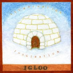 """Igloo: contemplation of a word beginning with the letter I  8.5"""" x 8.5"""" fine art digital reproduction on Photo 240gsm Satin paper 1-inch white margin to allow for framing (total measurement 10.5 x 10.5)  Shipped in protective clear bag with backing board   My reason for creating this"""