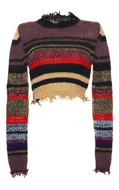 Cropped Frayed Sweater by ETRO for Preorder on Moda Operandi