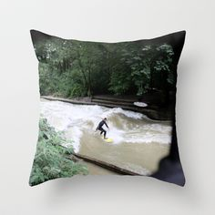 Perpetual Surfer Throw Pillow by anna woerman - $20.00