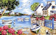 Get creative wall painting designs & concepts for a trendy home decor.Latest home painting colour id Pour Painting, Acrylic Painting Canvas, Painting & Drawing, Cottage Art, Naive Art, Beautiful Paintings, Painting Inspiration, Art Pictures, Landscape Paintings