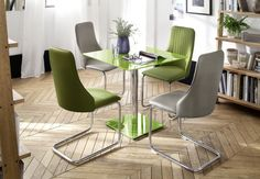 Jídelní stůl - deska stolu: čtvercové bezpečnostní sklo 80x80 cm, lakované. Dining Chairs, Furniture, Home Decor, Decoration Home, Room Decor, Dining Chair, Home Furnishings, Home Interior Design, Dining Table Chairs