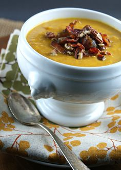 Authentic Suburban Gourmet: { Sweet & Spicy Pumpkin Soup with Bacon, Dates and Pecans | Secret Recipe Club }