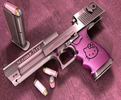 """Girly girl """"Hello Kitty"""" gun  / Check out Charter Arms on Pinterest or visit our web-sight at  CharterFireArms.Com"""
