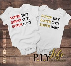 Baby Onesie  Super Tiny Super Cute Super Baby Baby by ThePIYLife