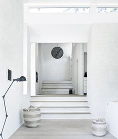 Norm Architects Fredensborg House near Copenhagen in Denmark, is a gorgeous example of great minimalism. The sleek lines and natural elements alongside the white interior designet by Norm Architect… Danish House, Foyer Design, Interior, Minimalist House Design, Staircase Design, Colour Architecture, Minimalist Home, Nordic Interior Design, Norm Architects
