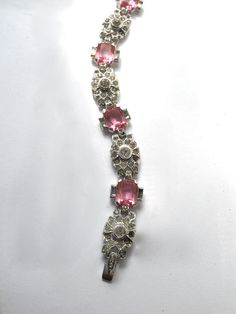 Vintage Art Deco Pink and Clear Rhinestone by BlueLaceVintage, $125.00