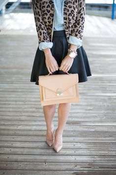 Animal print cardigan with navy skirt, nude bag & pumps. Except change the skirt to pencil style.
