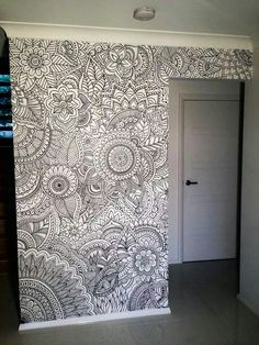 Zentangle a wall. This is a great example of home decor with doodling or Zentan… Zentangle a wall. This is a great example of home decor with doodling or Zentangles. zentangle doodle doodles Pin: 720 x 960 Mandala Mural, Mandala On Wall, Mandala Art Lesson, Mandala Tapestry, Sharpie Art, Sharpies, Wall Drawing, Room Decor, Wall Decor