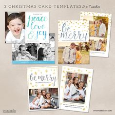 Digital Photoshop Christmas Card Template for photographers PSD Flat card Watercolor