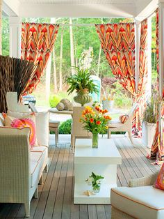 Decoration, Open Concept Decorating Ideas For Small Living Rooms Summer Porch Decor With White French Country Decorating Ideas For Outdoor Living Rooms Furniture: 36 Simple Ideas Small Summer Front Porch Decorating Ideas 2014 Outdoor Curtains, Outdoor Rooms, Outdoor Living, Outdoor Furniture Sets, Outdoor Decor, Porch Curtains, Wicker Furniture, Outdoor Fabric, Furniture Stores