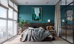 chambre mur bleu canard