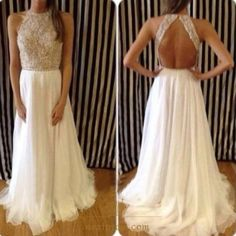 NextProm.com Offers High Quality White Sleeveless Beaded Bodice Keyhole Back Chiffon Long Prom Dress,Priced At Only USD $128.00 (Free Shipping)