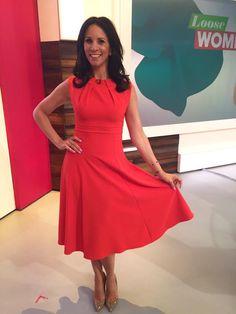 Andrea McLean wearing the May dress in Fiesta Orange on Loose Women #LooseWomen #LWstyle #Diva #DivaCatwalk