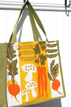 Vera Neumann Tote Bag - Root Vegetables - Farmers Market Bag - Mid-Century Modern from www.JiggetyPig.etsy.com