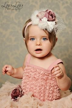 Dusty Rose Antique Pearl Headband from The Couture Baby