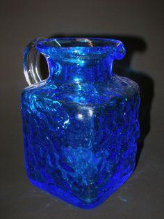 VINTAGE PILGRIM BLOWN ART GLASS PITCHER TEXTURE COBALT BLUE SQUARE IRIDIZED    eBay