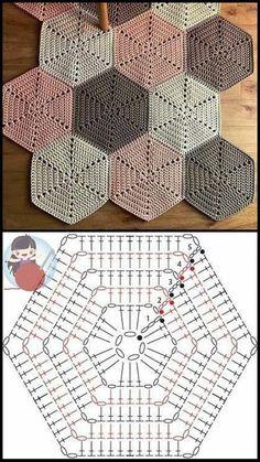 Crochet Motifs, Granny Square Crochet Pattern, Crochet Diagram, Crochet Chart, Crochet Squares, Crochet Blanket Patterns, Crochet Doilies, Crochet Hexagon Blanket, Hexagon Quilt
