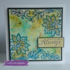 6x6 Card. Made using Crafter's Companion  Foil Transfers – Lavish Lace, Crafter's Companion Foils – Electric Blue and Rose Gold. Designed by Nicole Preston #crafterscompanion