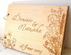 Personalized wedding guest book, wooden sign in guest book album