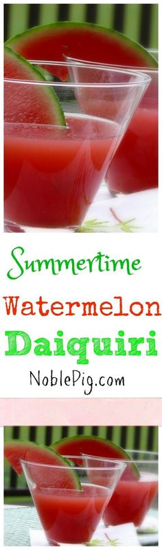 Fresh Watermelon Daiquiri is the perfect summertime cocktail from NoblePig.com.