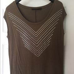Embellished Tee Brown embellished tshirt - 95% rayon/5% spandex. NWOT. The Limited Tops Tees - Short Sleeve