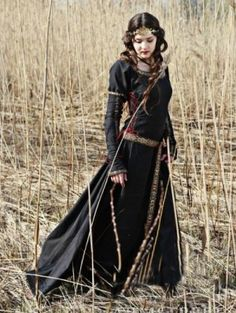 Black Cotton Medieval Dress - DevilInspired.co.uk