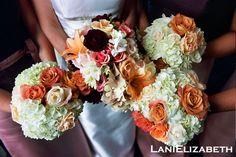 orange, white, peach, and wine bouquets