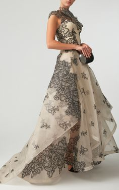 Guipure Lace Tiered Gown by ZAC POSEN for Preorder on Moda Operandi