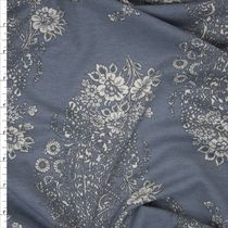 Ivory on Grey Floral Paisley Lightweight French Terry