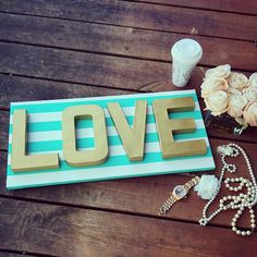 LOVE Dimensional Wall Art Wall Hanging Love Sign by GoldenPaisley