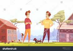 Two male people living in neighboring village cottages and walking with their children and pets cartoon vector illustration
