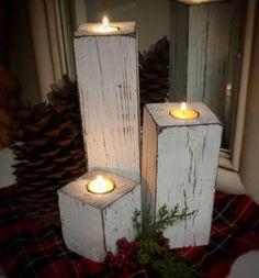 Wood candleholder trio Tea light holder rustic distressed look Farmhouse style Includes 12 8243 8 8243 4 8243 Wedding gift home decor White Wood Projects For Beginners, Diy Wood Projects, Vinyl Projects, Christmas Wood Crafts, Christmas Crafts, Christmas Candles, Christmas Signs, Fall Crafts, 4x4 Wood Crafts