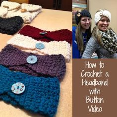 How to Crochet Headbands with Button Video #crocheting Crochet Yarn, Crochet Headband Tutorial, Easy Crochet Hat, Finger Crochet, Crochet Mittens, Crochet Boot Cuffs, Crotchet, Crochet Beanie, Crochet Scarves