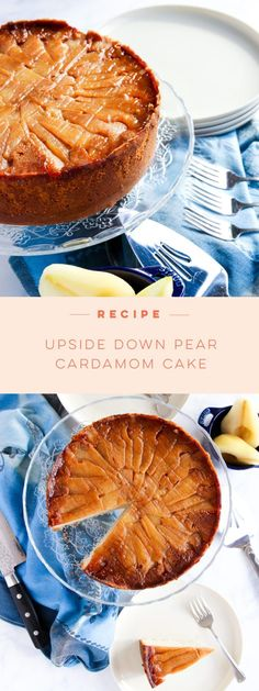 This Upside Down Pear Cardamom Cake will impress friends, family, and coworkers alike with festive spices and layered, caramel-coated pear slices. Perfect for the holidays! Pear Recipes, Cake Mix Recipes, Cupcake Recipes, Cupcake Cakes, Dessert Recipes, Quick Easy Desserts, Gluten Free Desserts, Delicious Desserts, Easy Meals
