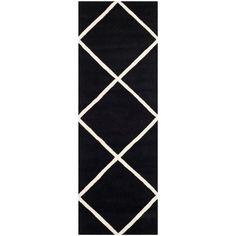 "Safavieh Handmade Moroccan Black Wool Geometric Rug (2'3"" x 7')"