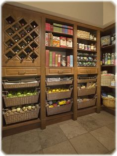 This would be a great pantry to have in my Next house, in a Basement were it would stay cool. Love the baskets for storing potatoes and other garden foods...