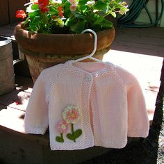 Hand Knit Baby Flower Sweater