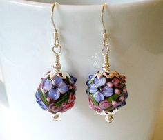 Lampwork Flower Earrings Glass Flower Earrings by JewelryArtByDawn