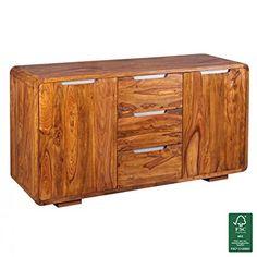 WOHNLING Sideboard Massivholz Akazie Kommode 145 Cm 3 Schubladen 2 Türen  Design Highboard Landhaus Stil