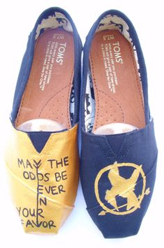 Hunger Games based shoes The Fighter - Gold and Black Custom TOMS by FruitfulFeet on Etsy, $120.00