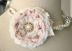 Blush+Pink+Corsage+Flower+Pin+Vintage+Inspired+by+rosyposydesigns